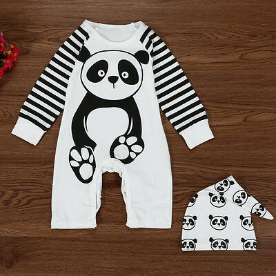 Newborn Infant Baby Kids Boy Girl Panda Romper Jumpsuit Bodysuit Outfits Clothes