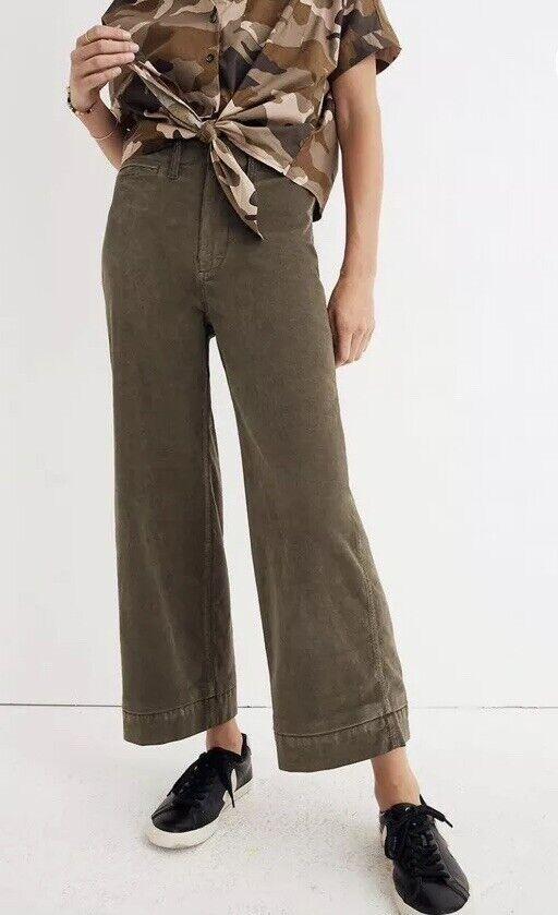 New Madewell Emmett Wide-Leg Crop Pants in Velveteen Kale Sz 30 J8662