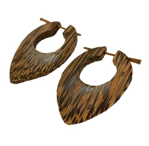 Pair Handmade Palm Wood Pointed Teardrop Stick Jewelry Illusion Hanger Earrings