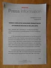 HONDA 50 MILLION CARS orig 2003 UK Mkt Press Release - Brochure