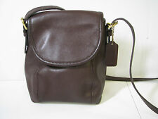 COACH Dark Brown Leather VINTAGE? CROSSBODY MESSENGER FLAP PURSE BAG Small Size