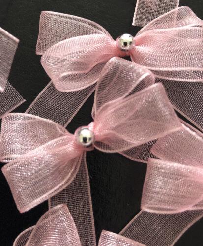 20 Small 3.5cm Blush Pink Organza Bows With Silver Pearl Rhinestone// Wedding