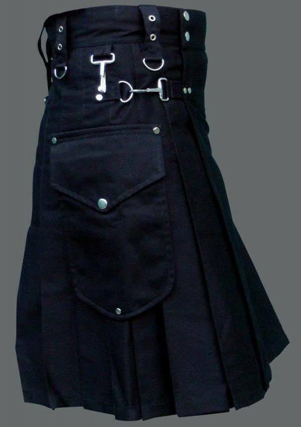 New Scottish Men Utility Kilt Black 100% Cotton Custom Handmade Adult