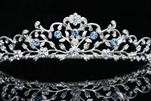 Handmade Bridal Blue Rhinestone Crystal Prom Wedding Floral Tiara 8797