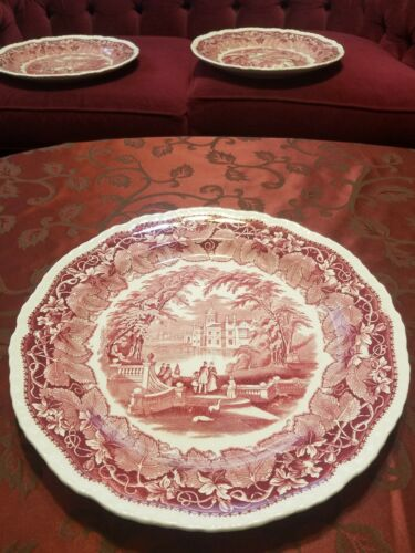 """Mason/'s Vista england Red 14/"""" diameters serving Platter In Very good Condition"""