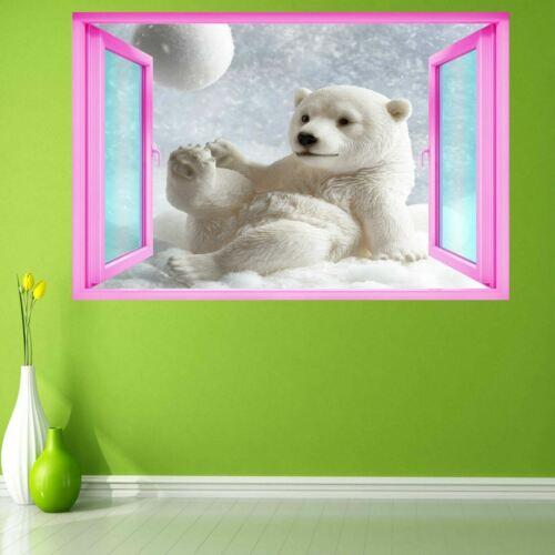 Baby Bear Snow Wall Art Autocollant Mural Décalcomanie Enfants Filles Chambre Home Decor EB32