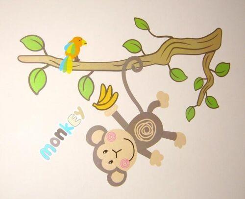 Nursery Childrens Kids Girls Boys Monkey Animals Wall Stickers Decals Bedroom