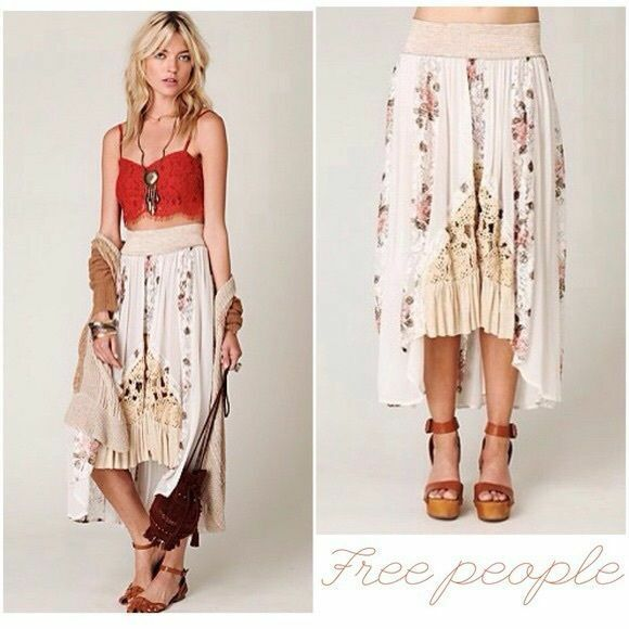 Free People Godet Floral Print Hi-Low White Maxi Duster Skirt XS Rare