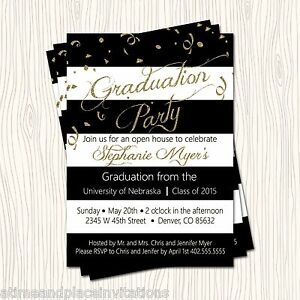 Gold glitter black high school college graduation party open house image is loading gold glitter black high school college graduation party filmwisefo