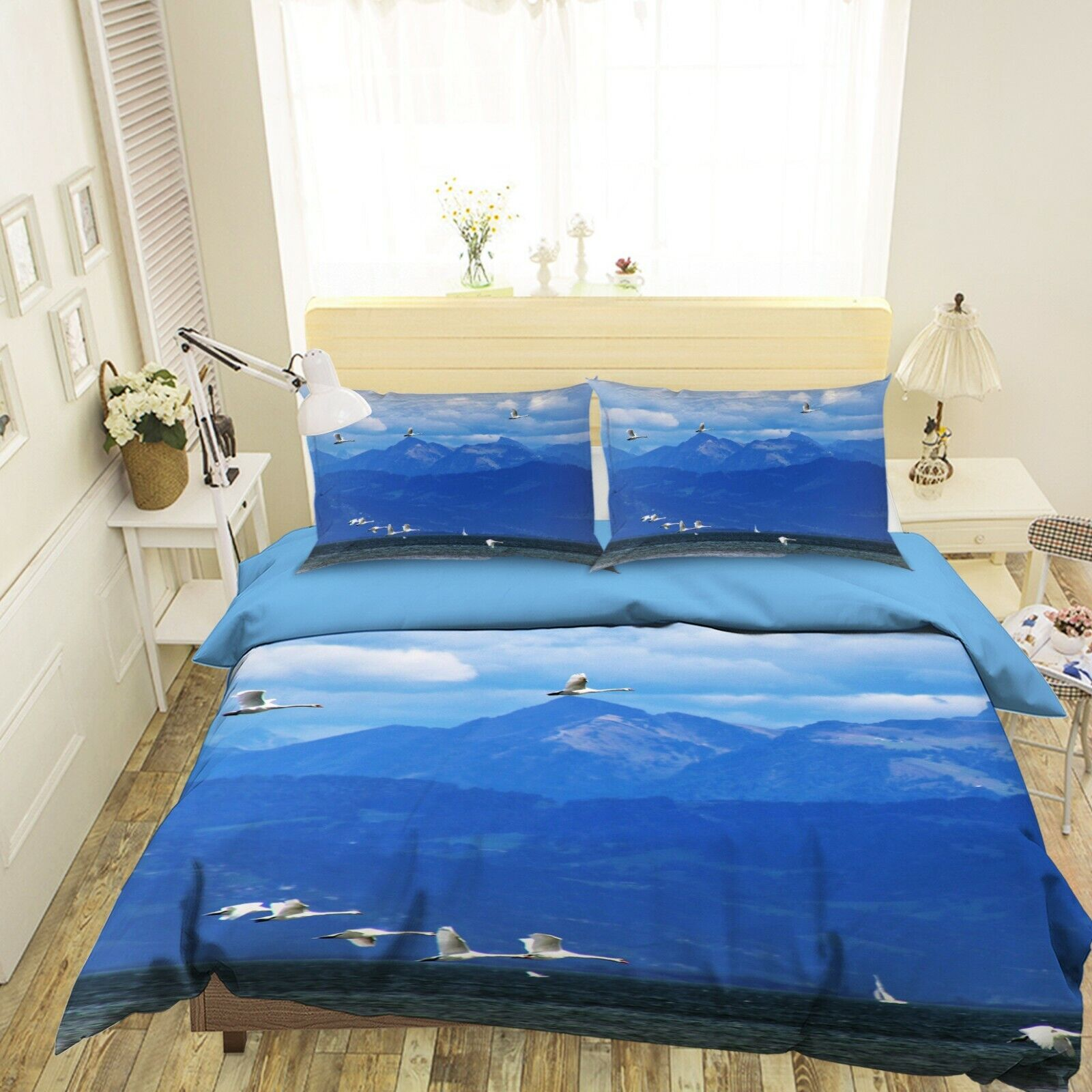 3D Egrets N40 Animal Bed Pillowcases Quilt Duvet Cover Queen King Amy