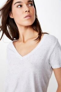 Cotton On Womens The Deep V S/S Tops  In  White