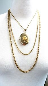 Locket with Triple Gold Tone Chain Necklace Beautiful