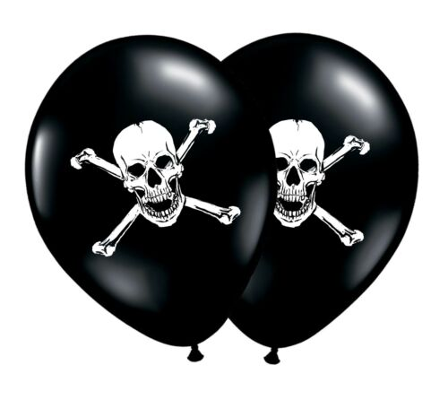 "Pirate Crâne /& Os 12/"" Blanc sur Noir Latex Ballons 1-100 CT-by Party Decor"