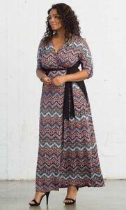 Details about NWT Beautiful Plus Size Kiyonna Moroccan Wrap Maxi Dress in  Chevron Mix Print,1X