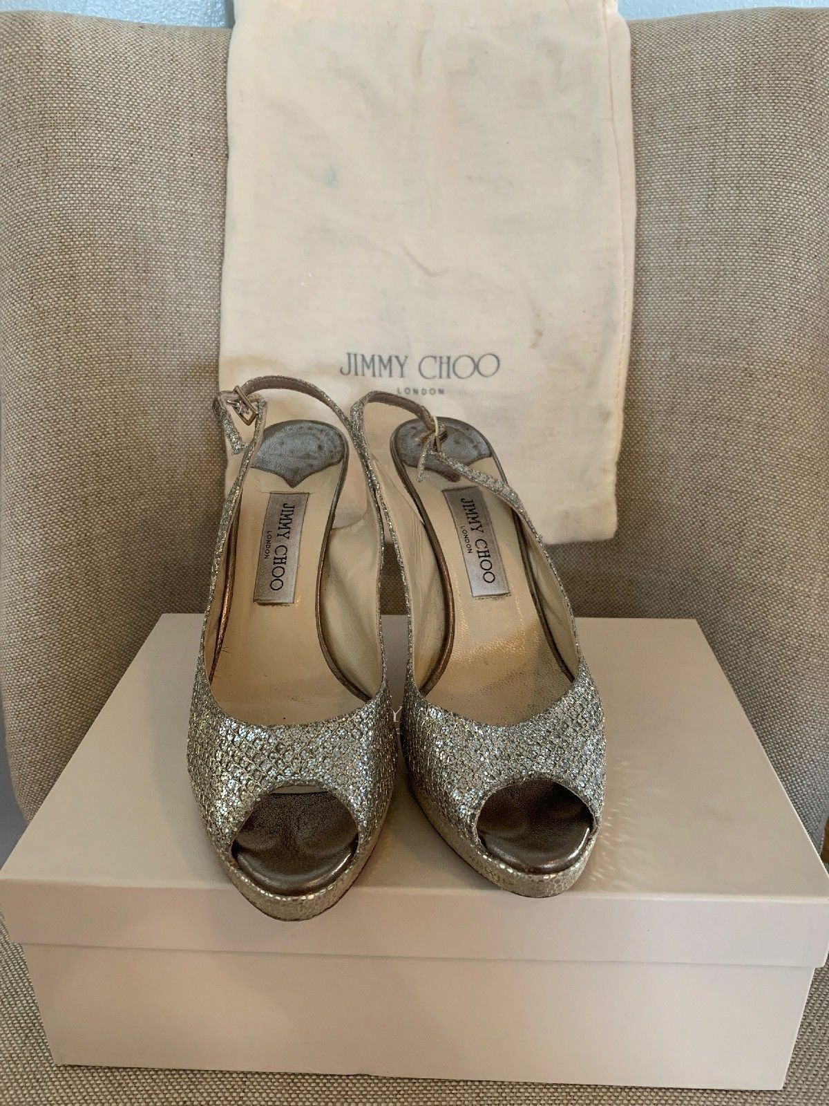 Jimmy Choo Nova Glitter Peep Toe Pumps sz 39