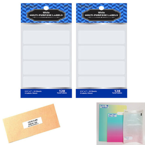 """256 Blank Stickers White Labels 2 3//4/"""" X 1/"""" Self Adhesive Crafts Personalize Tag"""