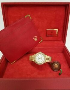 18k-Gold-Lady-Mega-Diamond-Rolex-President-69178-Quickset-Watch-Box-Tags-Booklet