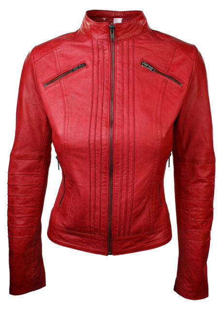 67ad7b5f5299 Ladies 100 Leather Jacket Black Retro Biker Style Chinese Collar M-10 Red  for sale online | eBay
