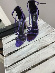 4ef466ae7b1 ASOS Office Spindle Purple Mirror Strappy Heeled Sandals (S0/5) | eBay