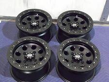 "12"" SUZUKI KING QUAD 700 BEADLOCK BLACK ATV WHEELS NEW SET 4 -LIFETIME WARRANTY"