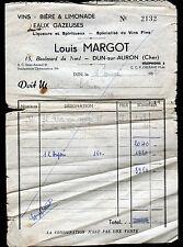 """DUN-sur-AURON (18) VINS BIERES LIMONADES """"Louis MARGOT"""" en 1952"""