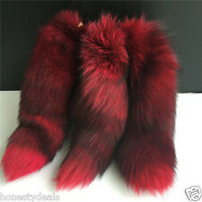 "Purple Red Black 16"" Large Genuine Real Fox Tail car Key chain Bag Charm Tassle"