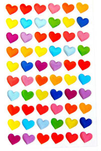 Assorted Sizes Glitter Love Heart Stickers For Card Making Scrapbook Craft