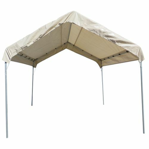 12 X 14 TAN 12mil Valance Replacement Top Cover Canopy Tarp For 10 X 14 Frame