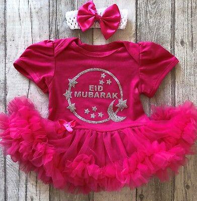 Vendita Professionale Baby Girl's Argento Eid Mubarak Tutu Romper Vestito Neonato Regalo Famiglia Festeggiare- Alta Qualità