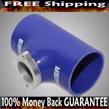 """2.5""""BLUE Silicone Adapter w/ Type S BOV Flange fits Acura BMW Toyota Mitsubishi"""