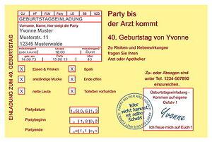 Toll Das Bild Wird Geladen 30 Lustige Einladungskarten Geburtstag Einladungen  Krankenschein Jedes Alter
