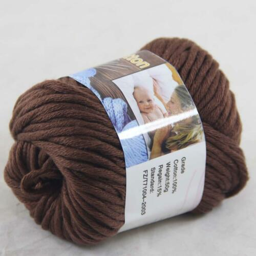 Sale 1BallX50g Chunky Cotton Hand Knitting Smooth Special Thick Yarn Chocolate