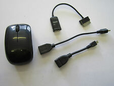 Black Wireless USB Mouse Mice & OTG Cable for Samsung Galaxy 2 10.0 GT-P7510