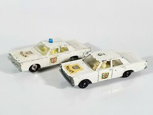 Vintage-Lesney-Matchbox-55-Ford-Galaxie-del-coche-de-policia-Lote-de-2-piezas-restauracion-de-coches