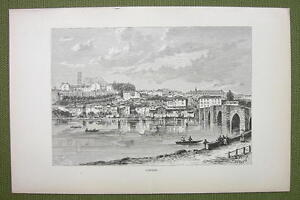 FRANCE-Limoges-View-of-Town-City-1880s-Antique-Print