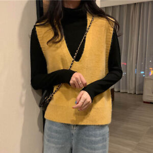 Women Knit Sweater V Neck Vest Waistcoat Sleeveless Knitwear Jumper Casual Tops