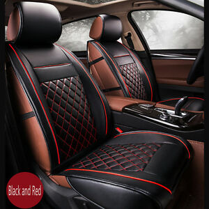 new luxury breathable pu leather car full set seat covers cushion black red warm ebay. Black Bedroom Furniture Sets. Home Design Ideas