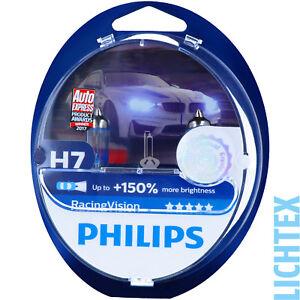 H7-PHILIPS-RacingVision-150-mehr-Licht-Scheinwerfer-Lampe-DUO-Pack-Box-NEU