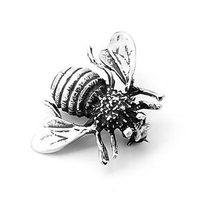 Hand-Made-Artisan-Sterling-Silver-Bumble-Bee-Honey-Bee-Pin-Brooch-Taxco-Mexico