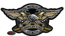 IRON EAGLE AMERICAN STEEL Biker Patch groß Aufnäher Aufbügler Backpatch Harley