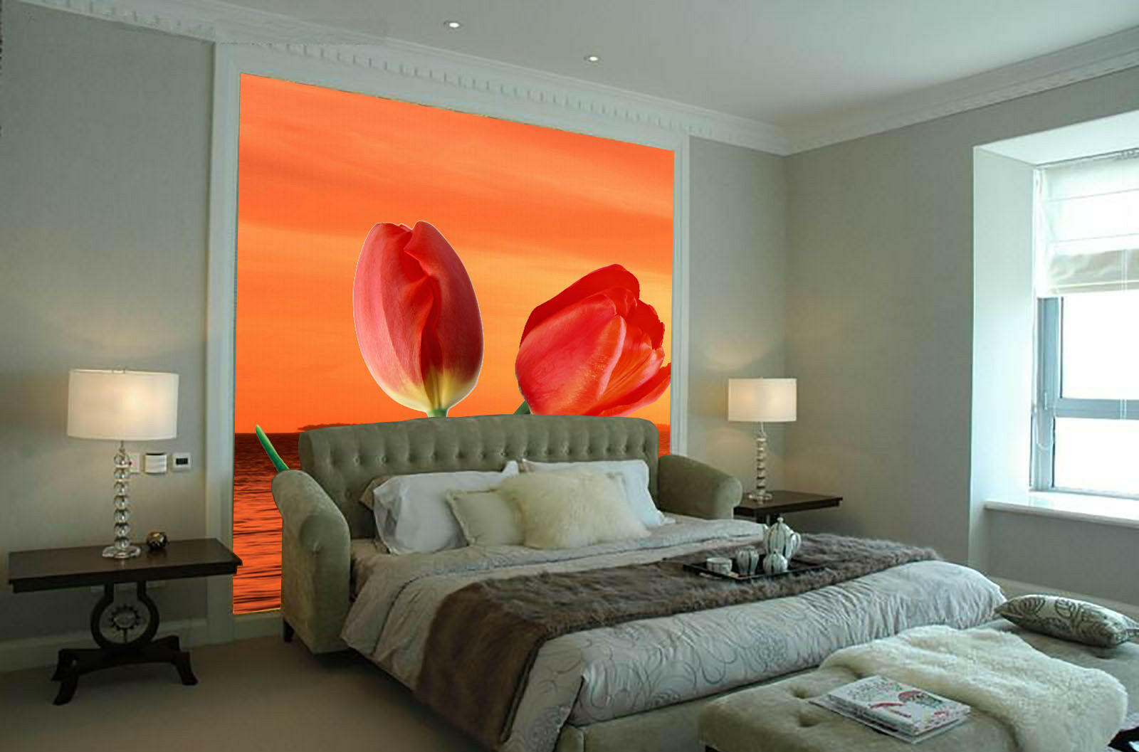 3D ROT Sky Sea Tulip 7 Wall Paper Murals Wall Print Wall Wallpaper Mural AU Kyra