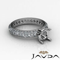 Pave Diamond Eternity Style Wedding Ring Round Semi Mount 18k White Gold 1.5Ct