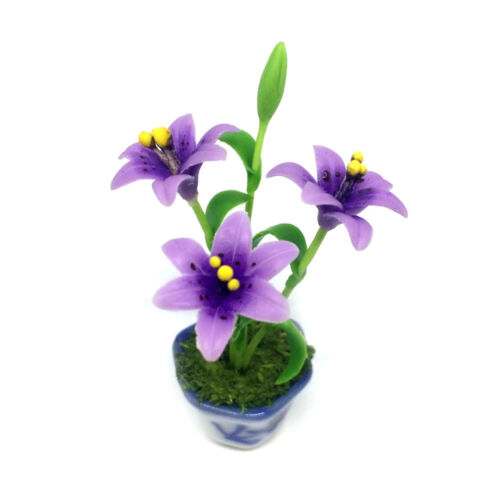 Purple Lily Clay Flower Ceramic Pot Dollhouse Miniature Tiny Handmade
