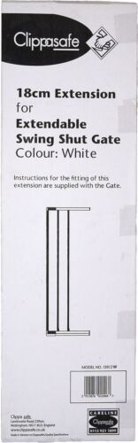 Clippasafe Extensible Swing Shut Gate Extension Blanc 18 cm Home Safety BN
