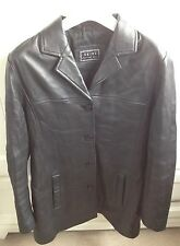 Skinz Black Button Down Soft Leather Coat Jacket Winter Blazer Ladies UK 14