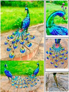 Grande-Hecho-a-Mano-de-Metal-Craft-pavo-REAL-esculturas-Estanque-De-Jardin-Decoracion-Interior-Al