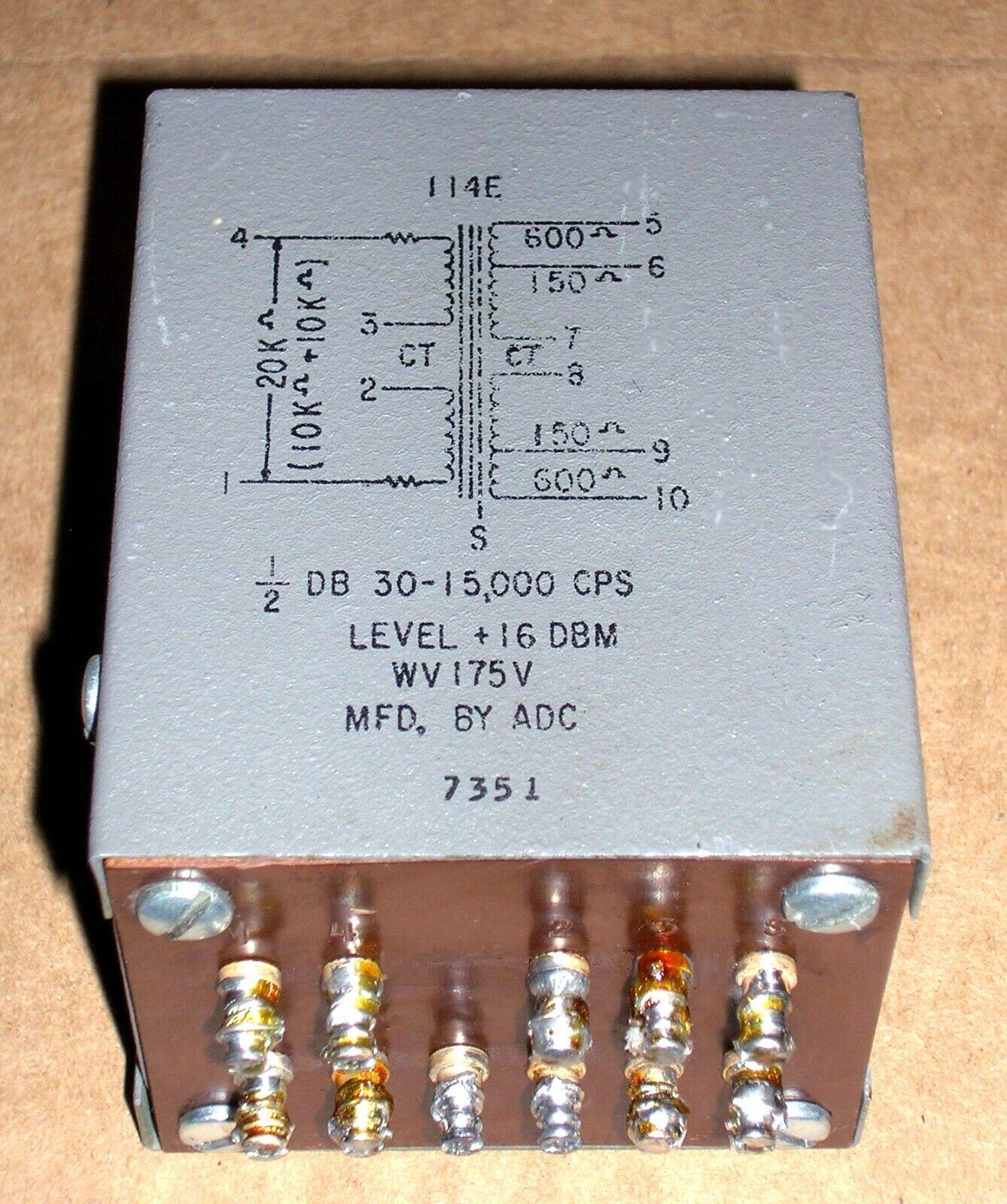 1 ADC 114E tube output transformer PRI. 20k or 5k  SEC. 150 ohm or 600 ohm x 2