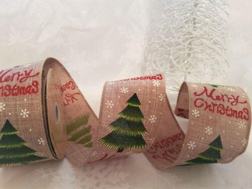 Feliz Navidad árbol copos de nieve múltiples en cinta de borde de alambre de Lujo Natural 63mm