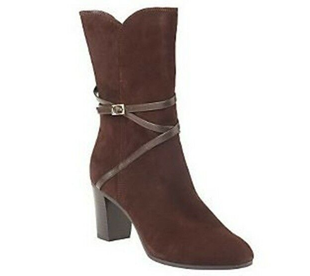 Isaac Mizrahi Live  Suede Boots with Strap Detail PICK SIZE & COLOR new