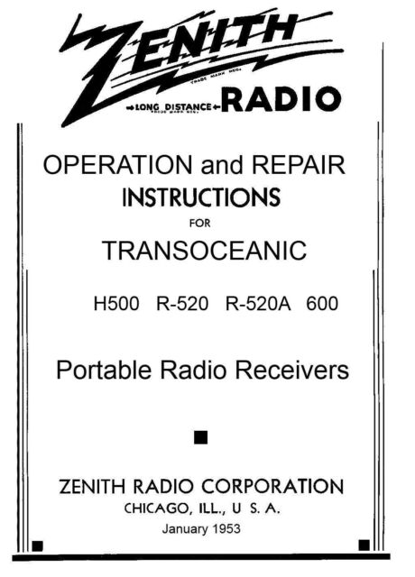 200 Page Manual Reprint For Zenith Transoceanic H500 R520 600 Ebay. 200 Page Manual Reprint For Zenith Transoceanic H500r520 600 Seriesr520a. Wiring. Zenith Tube Radio Schematics H500 At Scoala.co